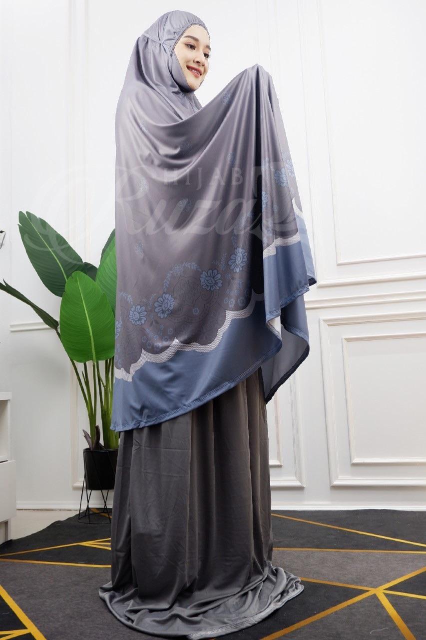 ชุดละหมาด รุ่นสกรีนลายดอก ผ้าละหมาด ผ้าละหมาดมุสลิม ผ้าคลุมละหมาด สำหรับมุสลิม