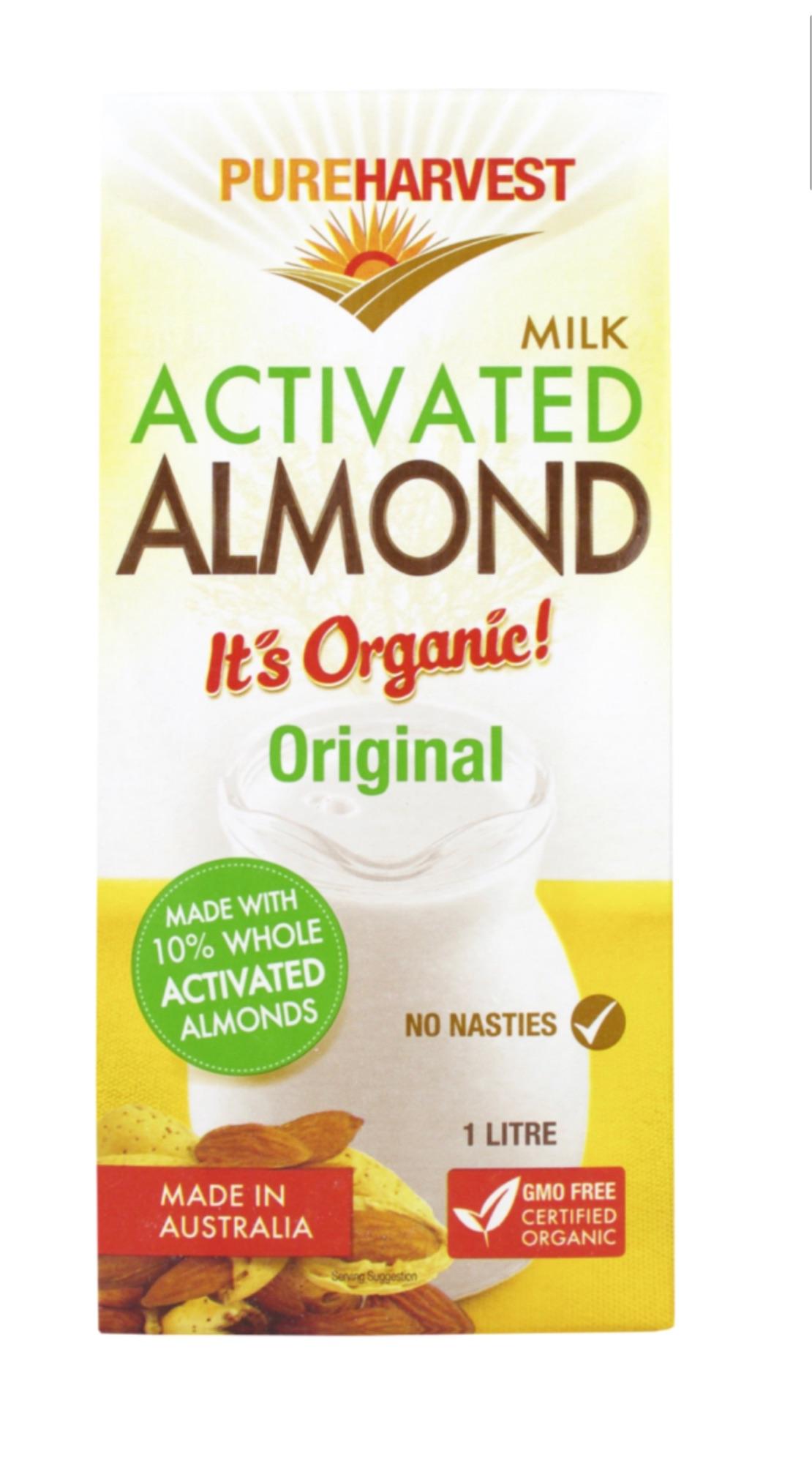 Our Organic Almond Original is made from 10% whole activated almonds. PUREHARVEST เพียวฮาร์เวสต์ ออร์กานิค น้ำนมเมล็ดอัลมอนด์ 1 ลิตร