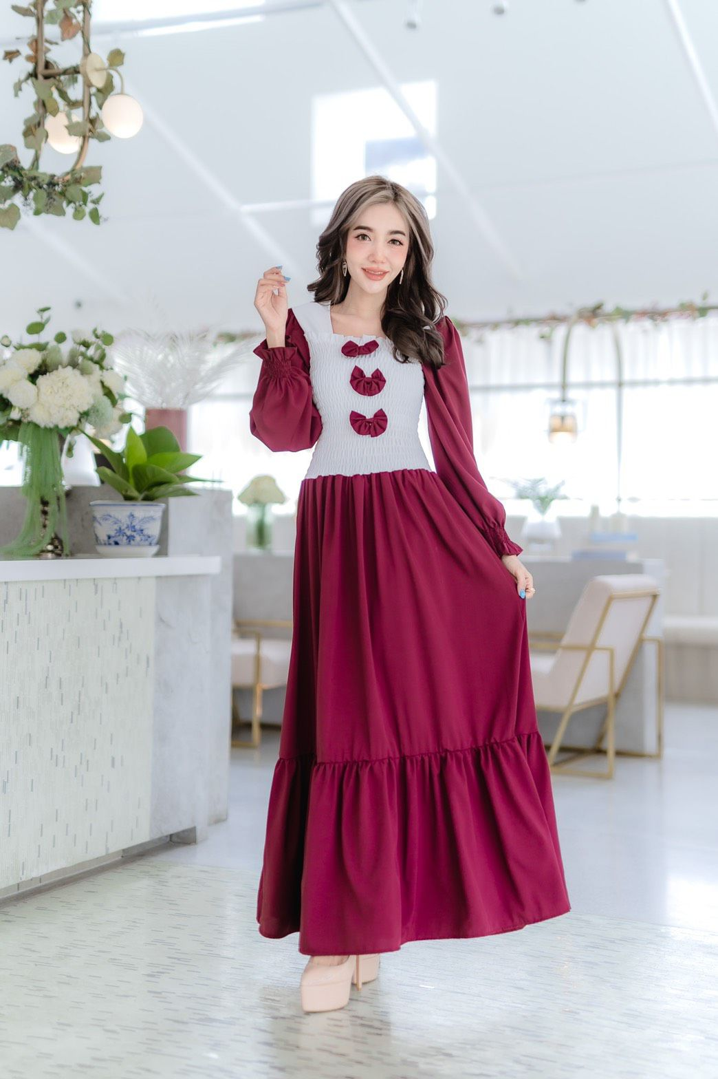 ชุดมุสลิม ชุดอิสลาม ชุดเดรสยาว?ผ้าไหมอิตาลี สม้อคอก