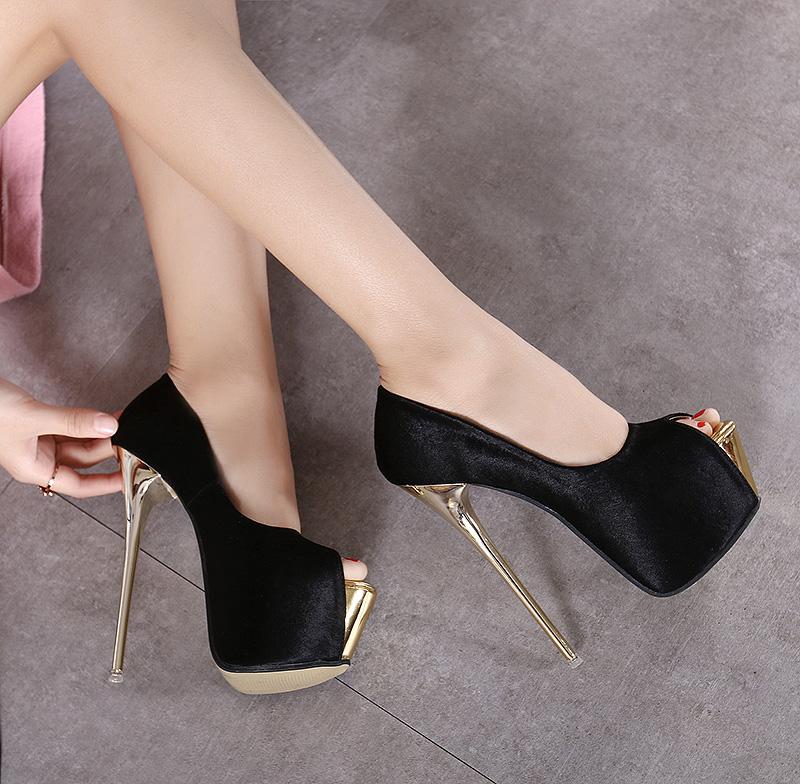 รองเท้าร้านกลางคืนสูงเป็นพิเศษรองเท้าสตรี18ซม./20เซนติเมตรส้นสูงมากรองเท้าแตะส้นหนาเวทีรองเท้าแสดงรถโมเดลแคทวอล์ค.